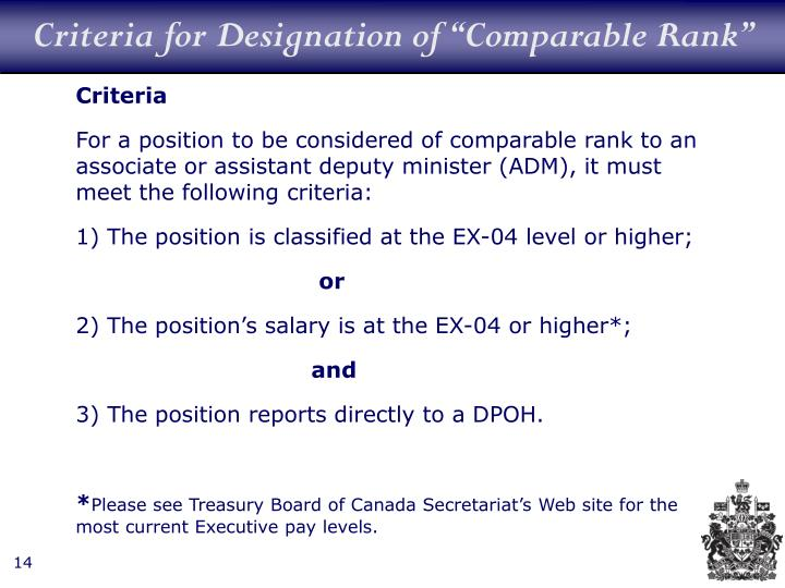 "Criteria for Designation of ""Comparable Rank"""