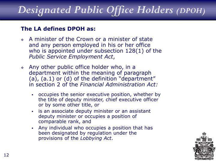 Designated Public Office Holders