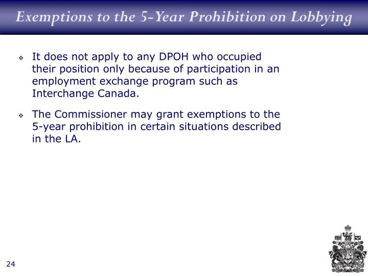 Exemptions to the 5-Year Prohibition on Lobbying