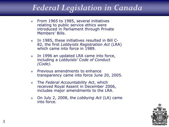 Federal Legislation in Canada