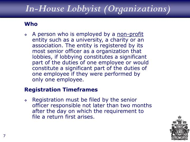 In-House Lobbyist (Organizations)