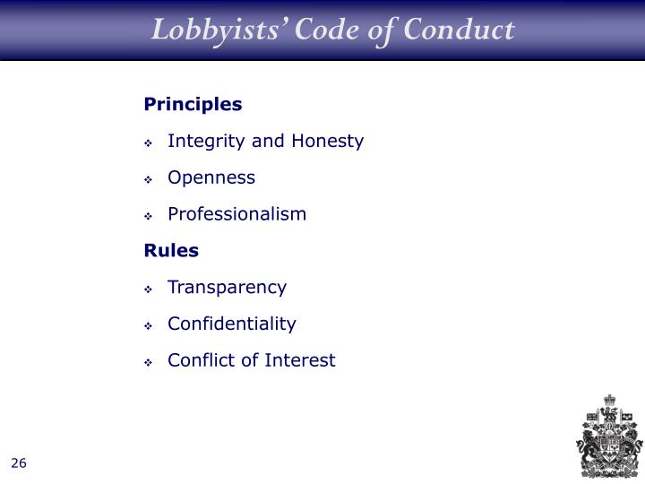 Lobbyists' Code of Conduct