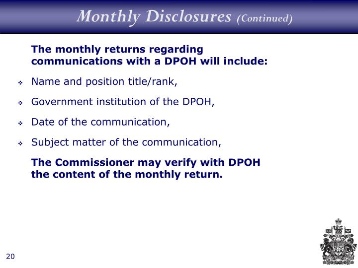 Monthly Disclosures