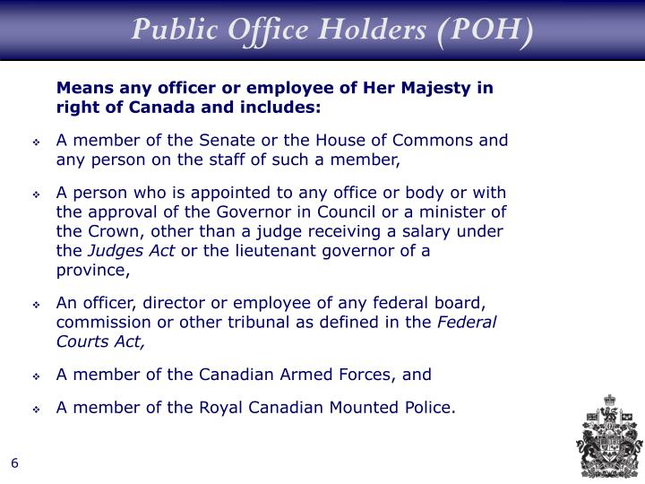 Public Office Holders (POH)