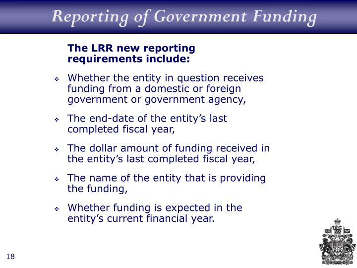 Reporting of Government Funding