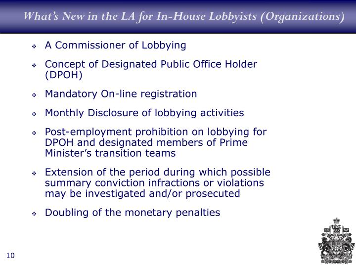 What's New in the LA for In-House Lobbyists (Organizations)