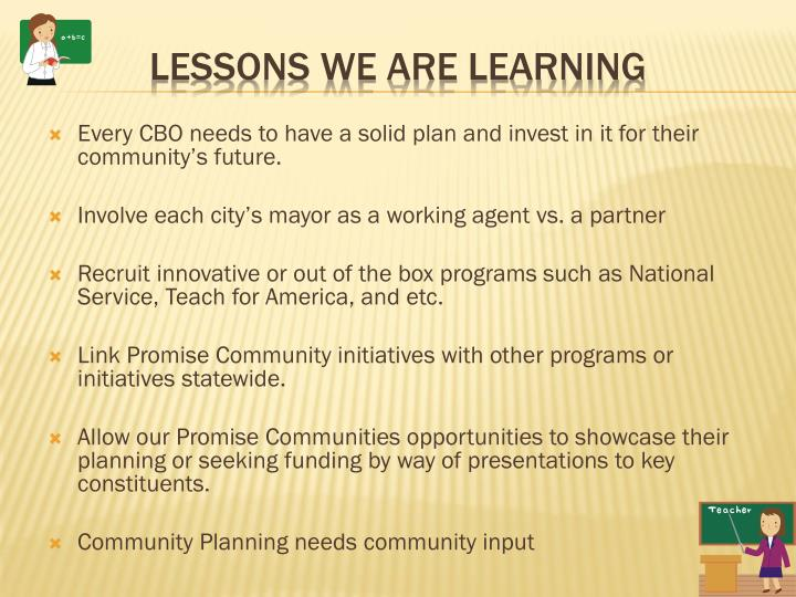 Every CBO needs to have a solid plan and invest in it for their community's future.