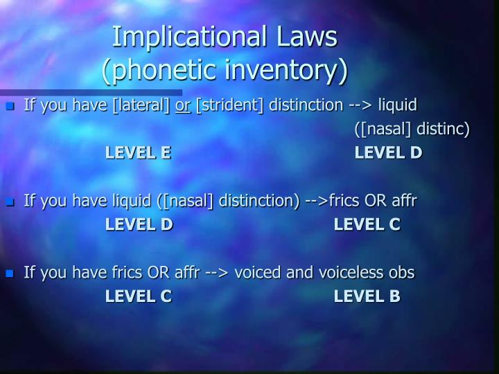 Implicational Laws