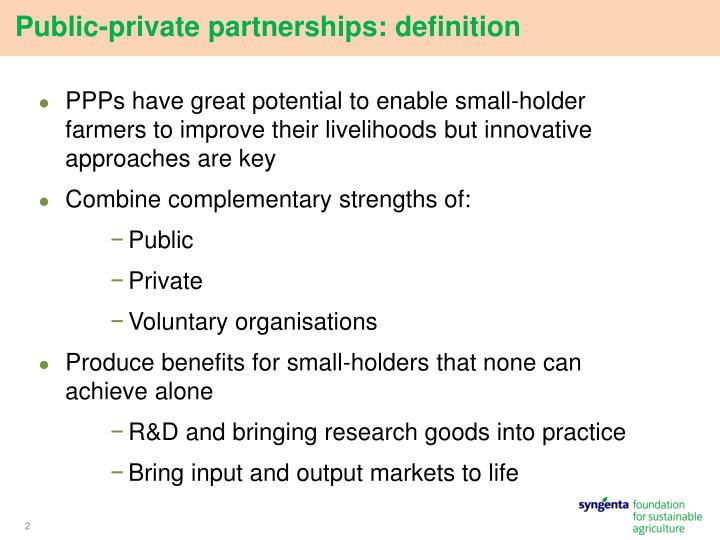 Public private partnerships definition