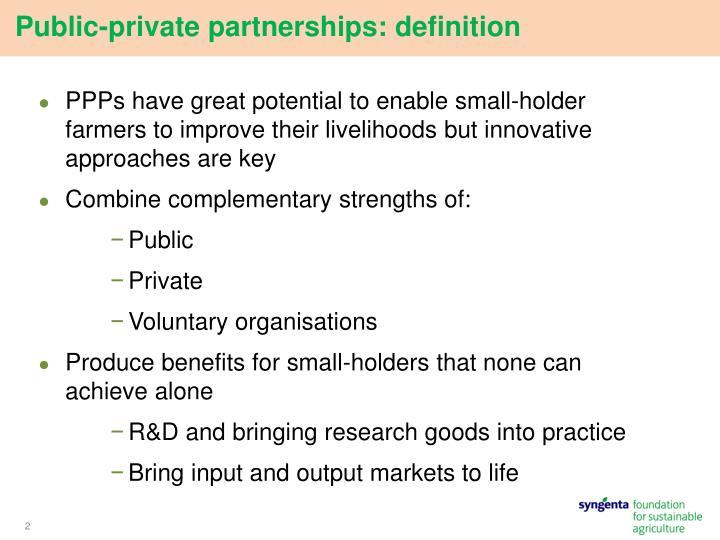 Public-private partnerships: definition