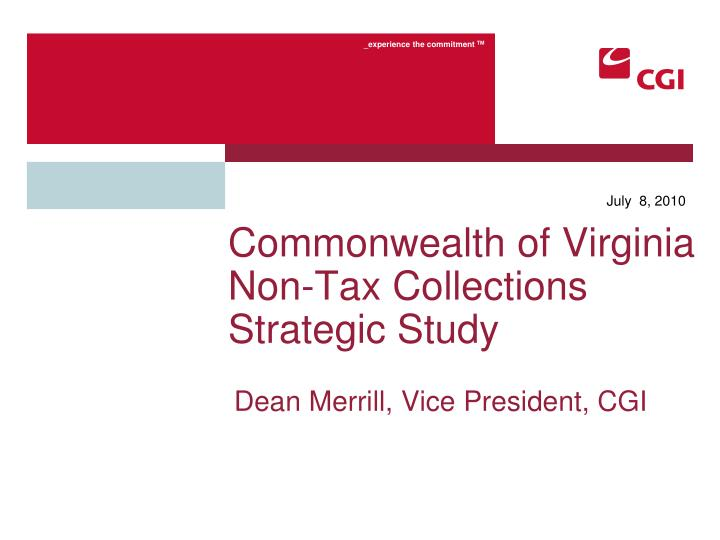 Commonwealth of virginia non tax collections strategic study