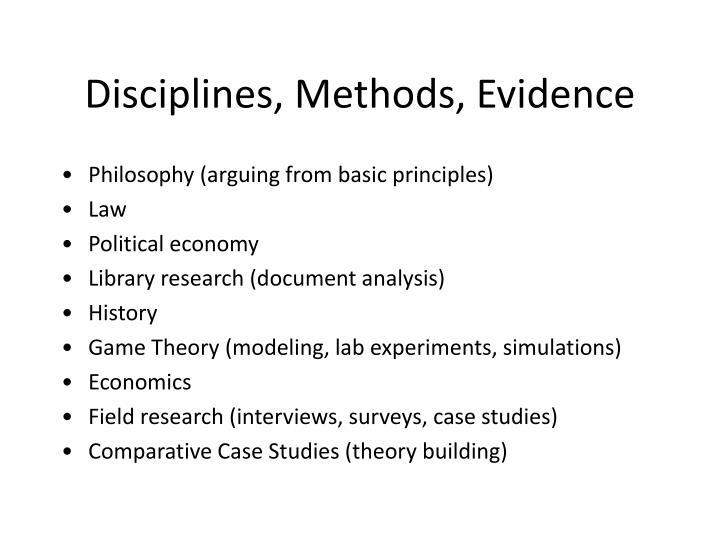 Disciplines, Methods, Evidence