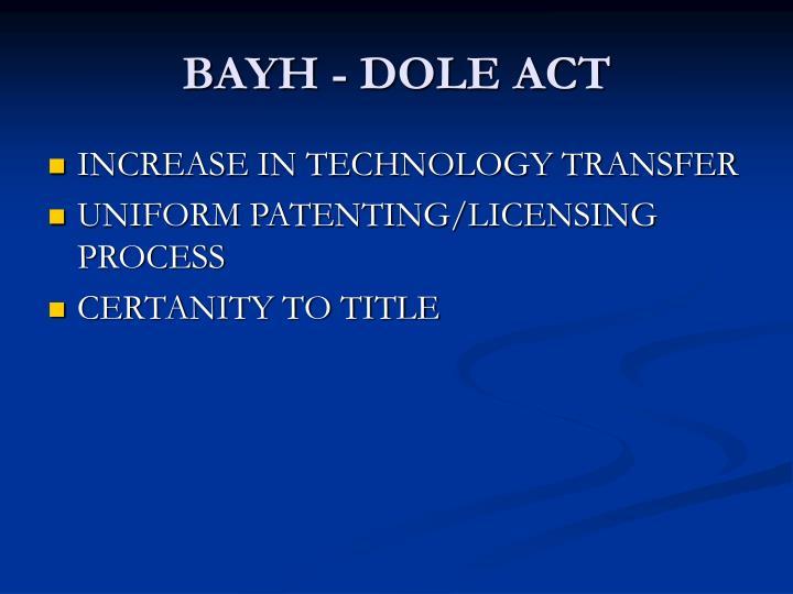 BAYH - DOLE ACT