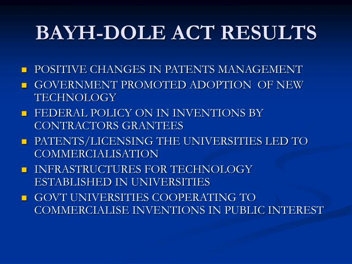 BAYH-DOLE ACT RESULTS