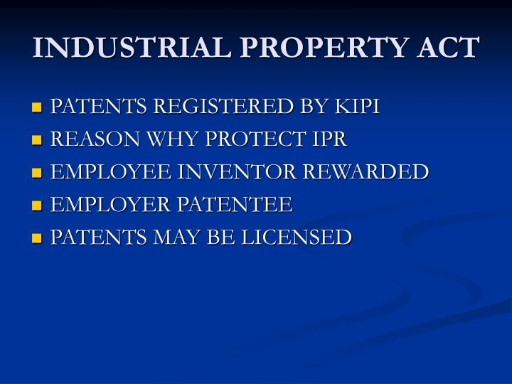 INDUSTRIAL PROPERTY ACT