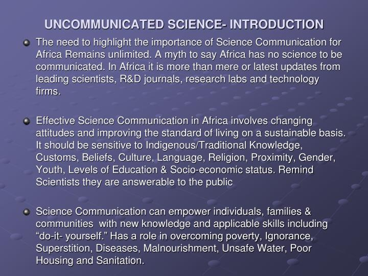 Uncommunicated science introduction