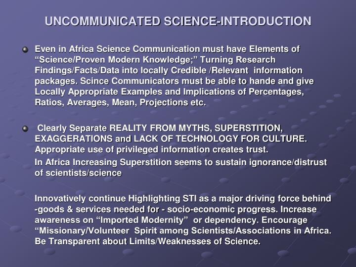 Uncommunicated science introduction1