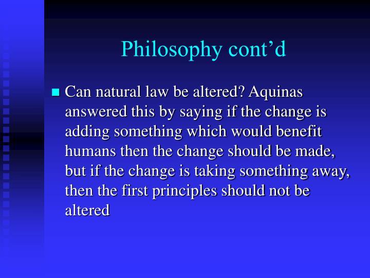 Philosophy cont'd