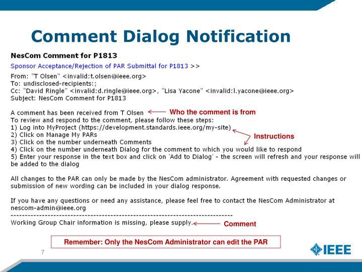 Comment Dialog Notification