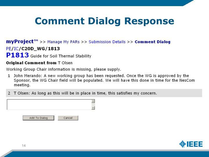 Comment Dialog Response