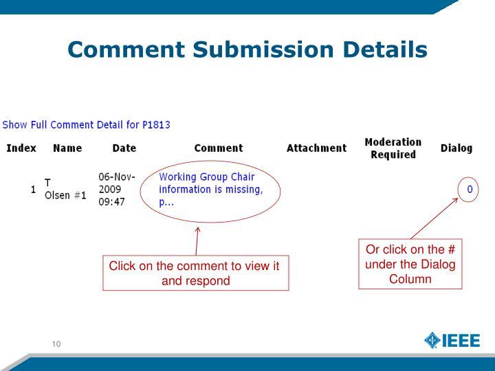 Comment Submission Details