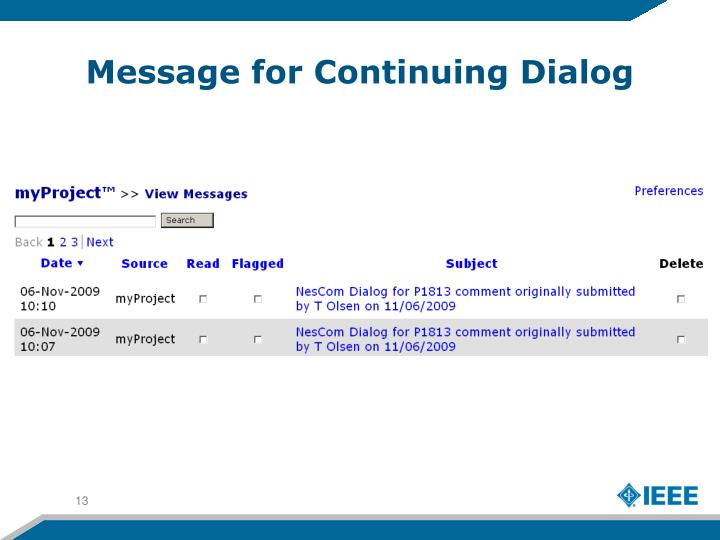 Message for Continuing Dialog