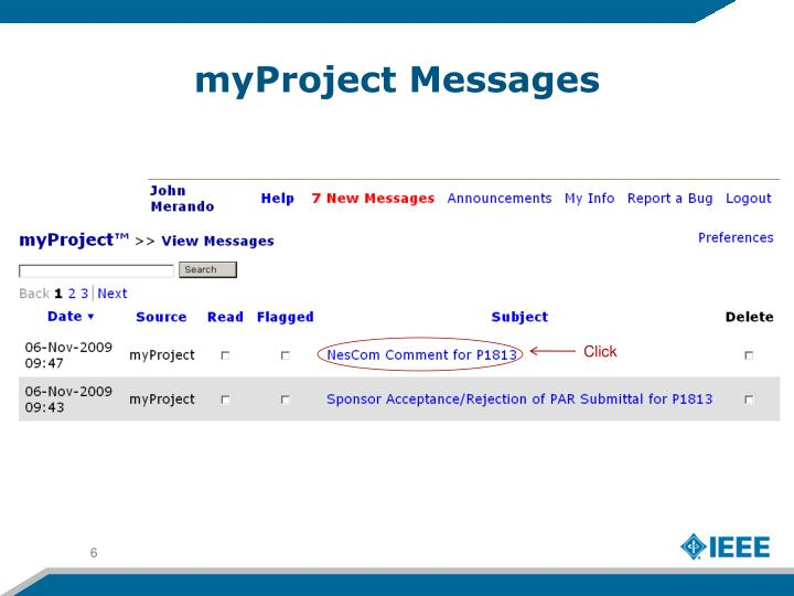 myProject Messages