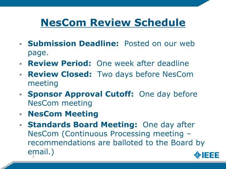 NesCom Review Schedule