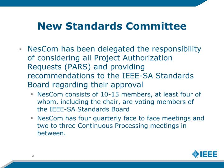 New standards committee