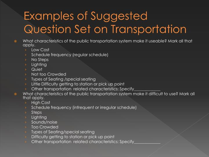 Examples of Suggested Question Set on Transportation