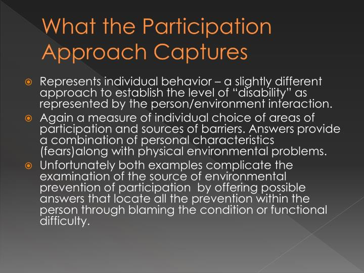 What the Participation Approach Captures