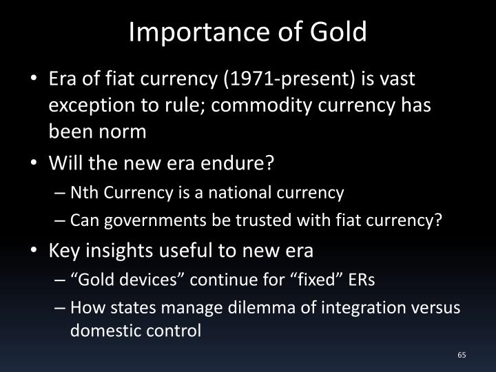 Importance of Gold
