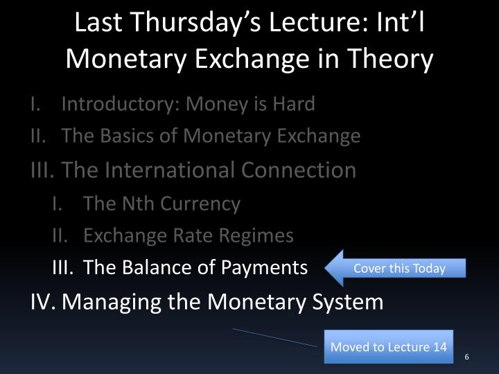 Last Thursday's Lecture: Int'l Monetary Exchange in Theory