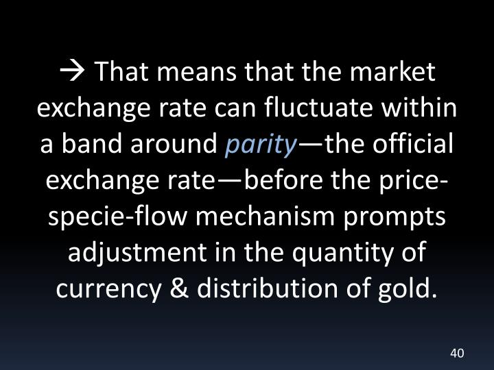  That means that the market exchange rate can fluctuate within a band around