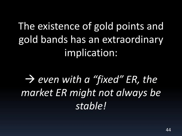 The existence of gold points and gold bands has an extraordinary implication: