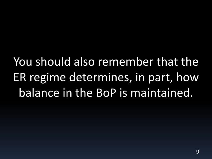 You should also remember that the ER regime determines, in part, how balance in the BoP is maintained.