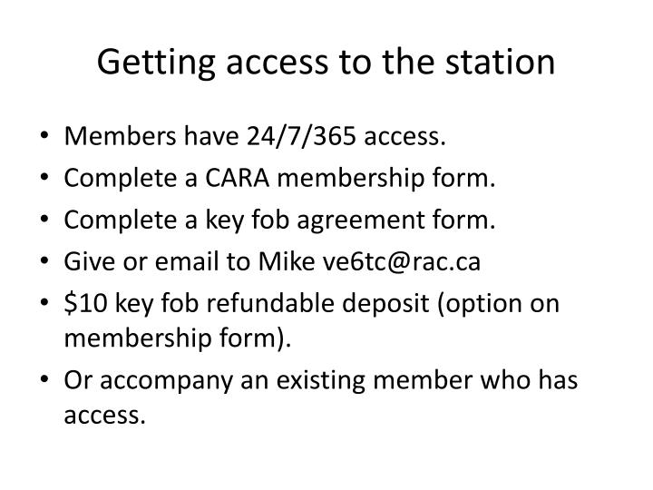 Getting access to the station