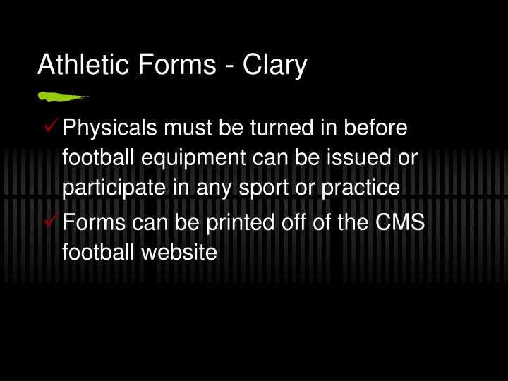 Athletic Forms - Clary