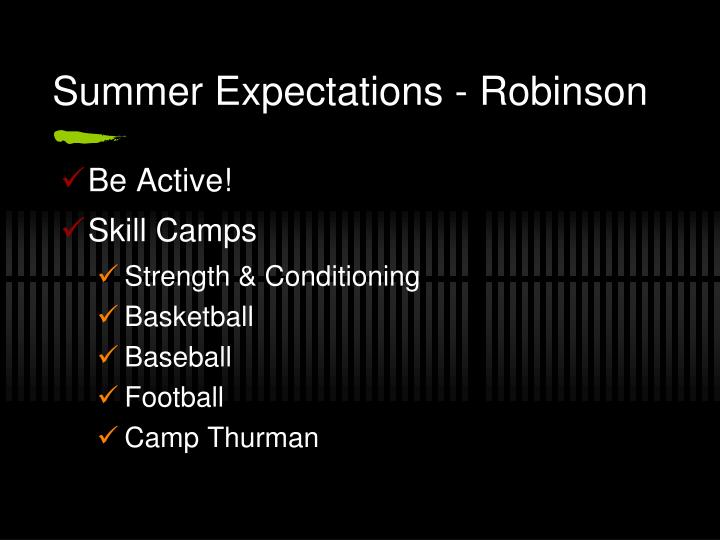 Summer Expectations - Robinson