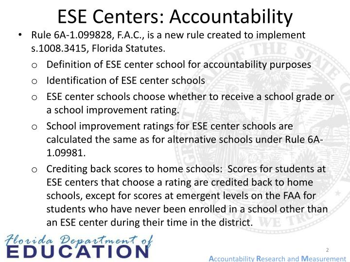 ESE Centers: Accountability