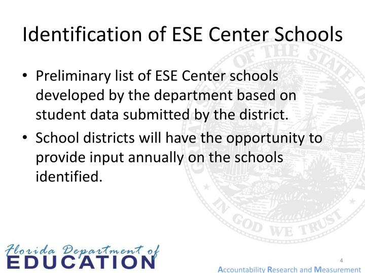 Identification of ESE Center Schools