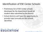 identification of ese center schools