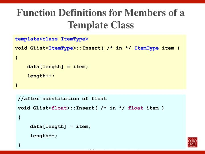 Function Definitions for Members of a Template Class