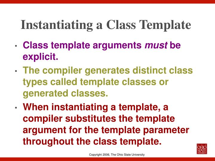 Instantiating a Class Template