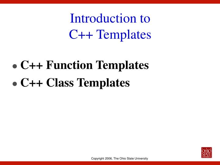 Introduction to c templates