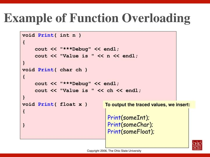 Example of Function Overloading