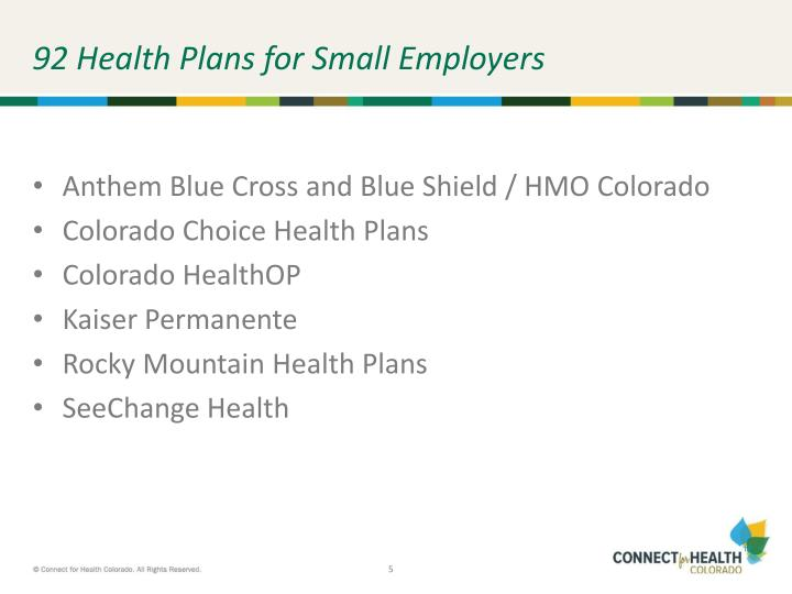92 Health Plans for Small Employers