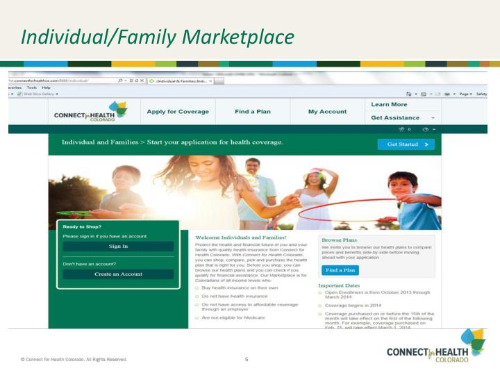 Individual/Family Marketplace
