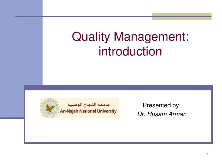 Quality management introduction