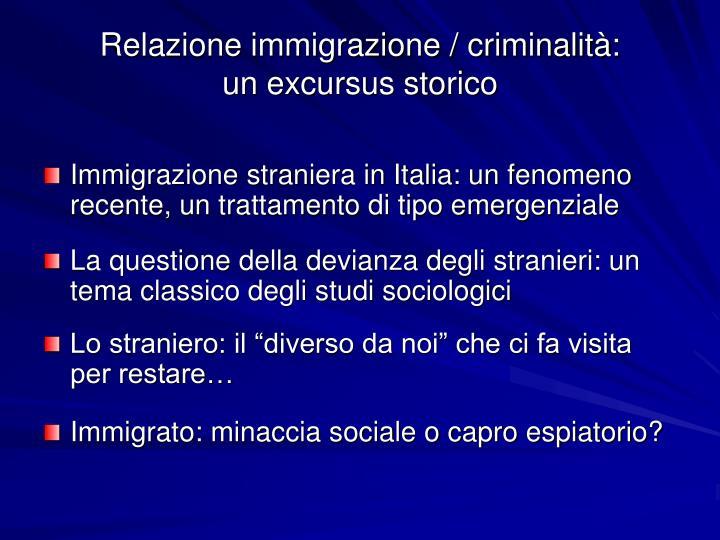 Relazione immigrazione / criminalità: